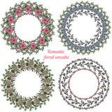 Hand drawn floral frames. Circle natural wreaths Royalty Free Stock Photo