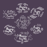Hand-drawn floral frames. Easter. Royalty Free Stock Image