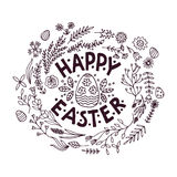 Hand-drawn floral frames. Easter. Stock Photography