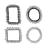 Hand drawn floral frames set. Black sketches on white background. Vector illustration Royalty Free Stock Photo