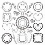 Hand-Drawn Floral Frames Stock Photo