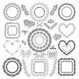 Hand-Drawn Floral Frames. Set of Hand-Drawn Doodle Floral Decorative Borders, Frames, Wreaths, Laurels. Design Elements. Vector Illustration Stock Photo