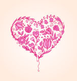 Hand drawn floral heart Royalty Free Stock Images