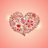 Hand drawn floral heart Stock Image