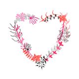 Hand drawn floral heart Royalty Free Stock Photo