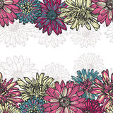 Hand drawn  floral horizontal seamless border Royalty Free Stock Photo