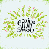 Hand Drawn floral  illustration with hand lettering word -Spring. Decorative floral frame. Natural elements. Spring season, spring Royalty Free Stock Image