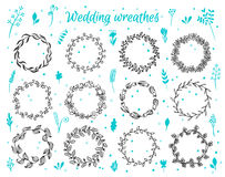 Hand-drawn floral laurel wreathes Royalty Free Stock Images