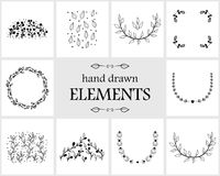 Hand drawn floral logo elements and icons Stock Images