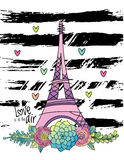 Hand drawn floral love card, eiffel tower, vector Stock Image