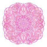 Floral pink beige mandala. Hand drawn floral mandala, isolated decorative element in pink, creame beige colors. Vector art, ethnic asian Indian ornament, boho royalty free illustration
