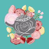 Hand-drawn floral motif with a teapot Royalty Free Stock Image