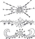 Hand drawn floral  ornaments Stock Photography