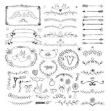 Hand drawn floral page elements. Swirls, ribbons