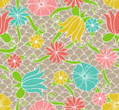 Hand drawn floral pattern. Seamless pattern with hand drawn colored floral ornament Royalty Free Stock Photography
