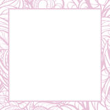 Hand drawn floral  pink border. Stock Photo