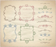 Hand drawn floral retro frames and line dividers collection Stock Image