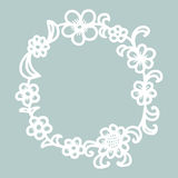 Hand drawn floral round frame. Stock Photography