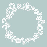 Hand drawn floral round frame. Stock Images