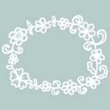 Hand drawn floral round frame. Royalty Free Stock Photo