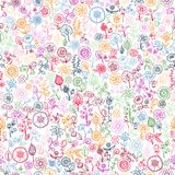 Hand drawn floral seamless background. Vector illustration Royalty Free Stock Photo