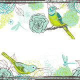 Hand drawn floral seamless border with birds Stock Photo