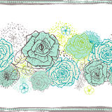 Hand drawn  floral seamless border in motton blue Royalty Free Stock Photos