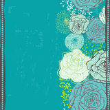 Hand drawn  floral seamless border in turquoise Stock Photos
