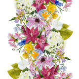 Hand drawn floral seamless border Stock Photo