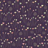 Hand drawn floral seamless pattern background dark.  Stock Photography