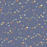 Hand drawn floral seamless pattern background dark. Vector royalty free illustration