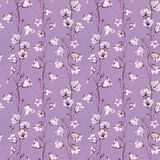 Hand drawn floral seamless pattern background with pink and white graphic bluebell flowers on dust pink craft paper royalty free illustration