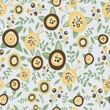 Hand drawn floral seamless pattern. Brown and. Yellow flower and nature brunch Stock Photo