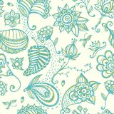 Hand-drawn floral seamless pattern. EPS 10 vector illustration Stock Photo