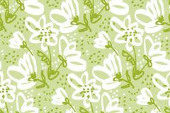 Hand drawn floral seamless pattern. Royalty Free Stock Images