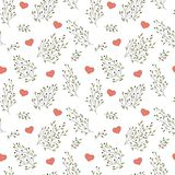 Hand drawn floral seamless pattern with hearts Royalty Free Stock Images