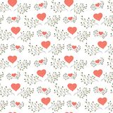 Hand drawn floral seamless pattern with hearts Royalty Free Stock Photo