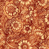 Hand-drawn floral seamless pattern in Indian Stock Images