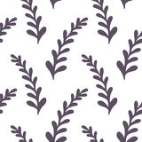 Hand drawn floral seamless pattern. Monochrome Stock Photo