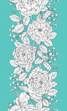 Hand drawn floral seamless pattern with roses and gypsophila. Royalty Free Stock Image