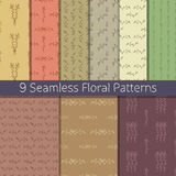 Hand Drawn Floral Seamless Pattern Set. Set of 9 floral seamless patterns from hand drawn sketches. Can be used for wallpapers, backgrounds etc. Optimized for Stock Images