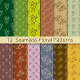 Hand Drawn Floral Seamless Pattern Set. Set of 12 floral seamless patterns from hand drawn sketches. Can be used for wallpapers, backgrounds etc. Optimized for Stock Photography