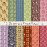 Hand Drawn Floral Seamless Pattern Set. Set of 12 floral seamless patterns from hand drawn sketches. Can be used for wallpapers, backgrounds etc. Optimized for Stock Photos