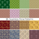 Hand Drawn Floral Seamless Pattern Set. Set of 16 floral seamless patterns from hand drawn sketches. Can be used for wallpapers, backgrounds etc. Optimized for Royalty Free Illustration