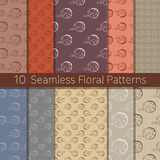 Hand Drawn Floral Seamless Pattern Set. Set of 10 floral seamless patterns from hand drawn sketches. Can be used for wallpapers, backgrounds etc. Optimized for Royalty Free Stock Photography