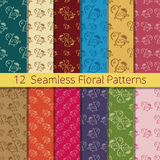 Hand Drawn Floral Seamless Pattern Set. Set of 12 floral seamless patterns from hand drawn sketches. Can be used for wallpapers, backgrounds etc. Optimized for Royalty Free Stock Photo