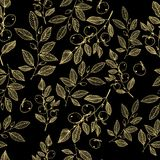 Hand drawn blossom gold on black floral seamless pattern vector stock illustration