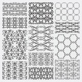 Hand Drawn Floral Seamless Patterns. Set of 12 Hand Sketched Decortive Monochrome Seamless Backgrounds. Pattern Swatches with Transparent Background. Vector Royalty Free Stock Photos