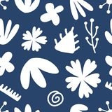 Hand drawn floral seamless repeat pattern. Spring, summer flowers, leaves, trendy colors. Bold fabric design, textile print, gift wrapping paper, wall art Royalty Free Stock Photography