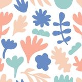 Hand drawn floral seamless repeat pattern. Spring, summer flowers, leaves, trendy colors. Bold fabric design, textile print, gift wrapping paper, wall art Stock Photography